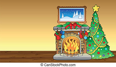 Christmas card with fireplace 1 - vector illustration