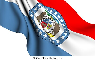 Flag of Missouri, USA against white background
