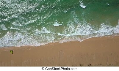Background of wave and sand - From above shot taken with...