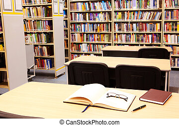 Workplace in library - Photo of workplace in modern library...
