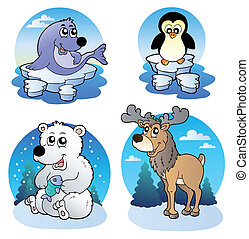Various cute winter animals - vector illustration.