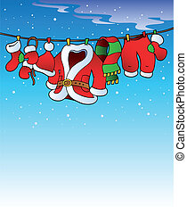 Snowy sky with Christmas costume - vector illustration.
