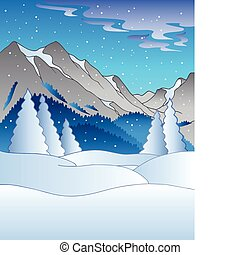 Winter landscape with hills - vector illustration