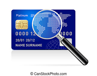 credit card with magnifying glass on white