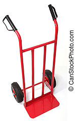 handtruck isolated on white - classic red handtruck isolated...