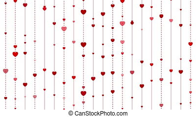 Red hearts abstract St Valentines Day video animation - Red...