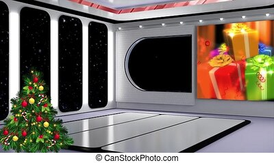Christmas TV Studio Set 21 - Virtual Green Screen Background...
