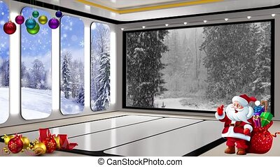 Christmas TV Studio Set 24 - Virtual Green Screen Background...