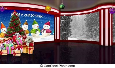 Christmas TV Studio Set 16 - Virtual Green Screen Background...