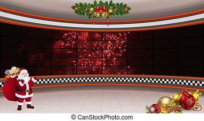 Christmas TV Studio Set 20 - Virtual Green Screen Background...