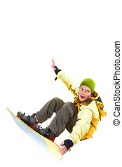 Jumping - Portrait of young boy with snowboard jumping and...