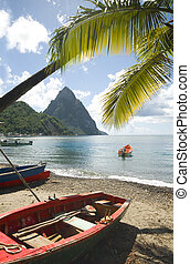 St. Lucia island view of famous twin piton mountain peaks...