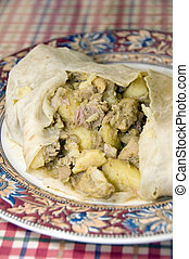 chicken roti food st. lucia west indies - Caribbean island...