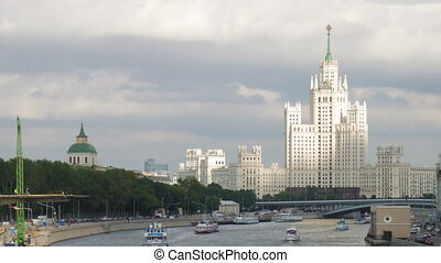 Soviet era skyscraper and Moskva river - Huge white...