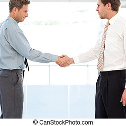 Two partners concluding a deal by shaking hands standing in...