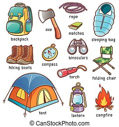Camping - Vector illustration of Cartoon Camping equipment...