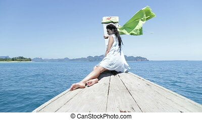 Beautiful Woman Sitting On Thailand Boat Nose In Sea, Young...