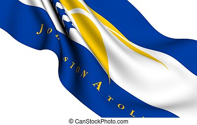 Flag of Johnston Atoll against white background Close up