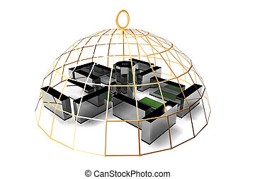 office in golden cage not freedom concept