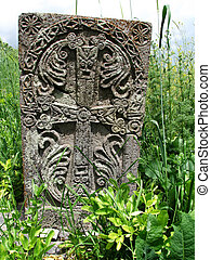 Cross stone in grass - Old Cross stone in grass