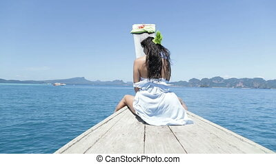 Beautiful Woman Sitting On Thailand Boat Nose Happy Smiling...