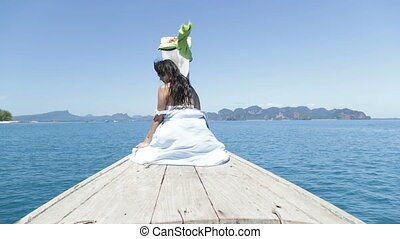 Beautiful Woman Sitting On Thailand Boat Nose Back Rear...