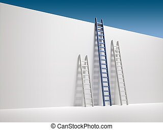 Ladder - Three ladder leaning the wall - 3d render...
