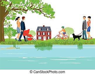 Menschen am Wasser.eps - Families go for a walk along the...