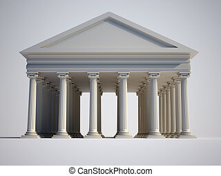 Ionic - Roman building with ionic style columns - 3d render