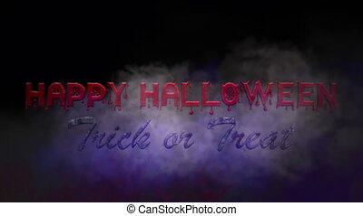 Happy Halloween  Bloody Text With Smoke