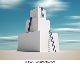 Up - Ladders leaning against a tower - 3d render...