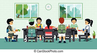 School cafeteria - Students are having lunch in the school...