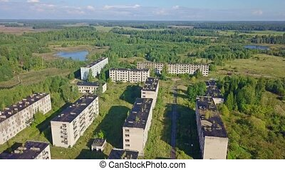 Top view of abandoned military town