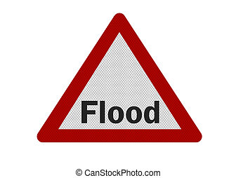 Photo realistic 'flood warning' sign, isolated on white