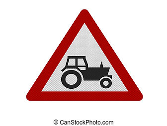 Photo realistic 'farm machinery' sign, isolated on white -...