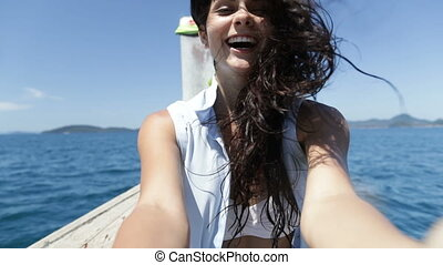 Beautiful Brunette Woman Happy Smiling To Camera Sitting On...