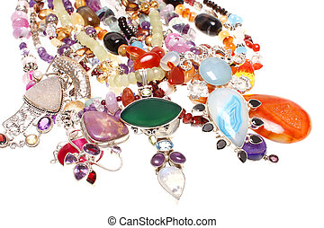 Assorted jewelry consisting of semiprecious stones and...