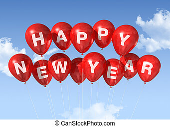 happy new year balloons - red Happy new year balloons...