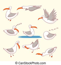 Set of seaguls marine burds - Collection of colorful vector...