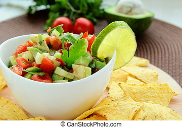Mexican tortilla chips with Salad - Mexican tortilla chips...