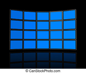 Wall of flat tv screens - 3D panel Wall of flat tv screens,...