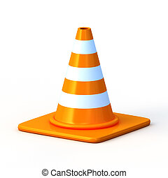 the 3d traffic cones isolated over white