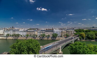 Panorama of Paris timelapse. View from Arab World Institute...