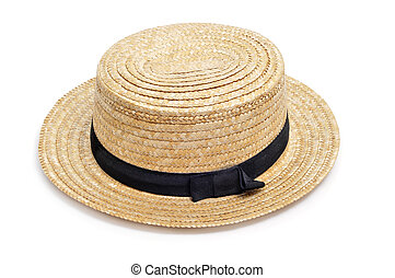 straw hat - a straw hat isolated on a white background