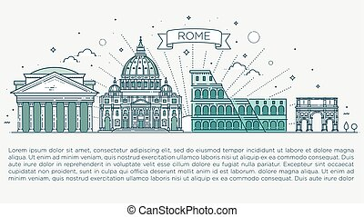 Linear vector icon for Vatican Rome Italy. Tourist...