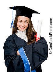happy smiling graduate girl with diploma isolated