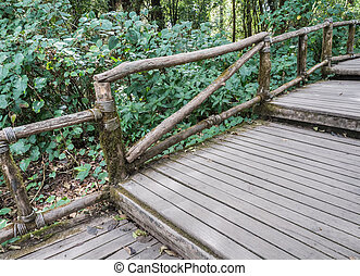 Wooden bridge in the nature trail. - Wooden bridge with the...
