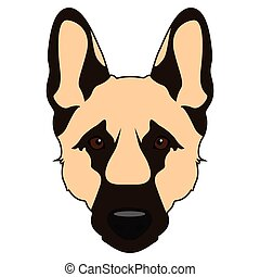 Dog face icon - Isolated german shepard face icon on a white...