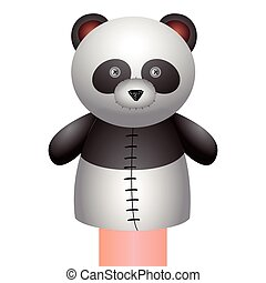 Isolated panda puppet on a white background, Vector...