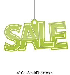 Sale hangtag - hangtag with green letters sale on white...